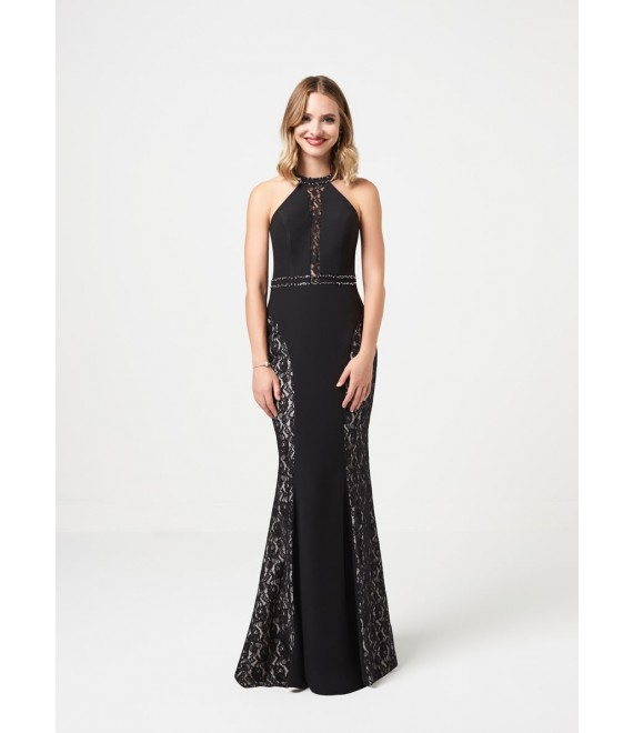 Audrey Detailed lace with open back maxi dress in Black