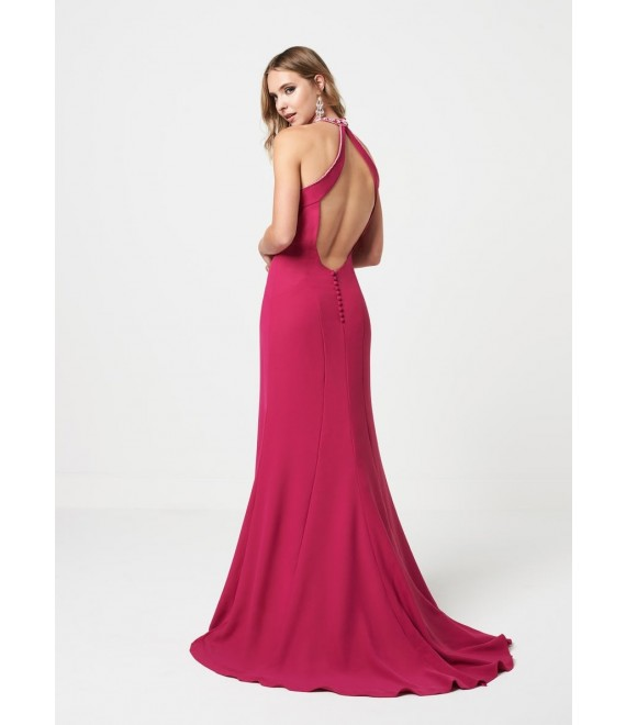 Eleanor High neck jewelled details with open back