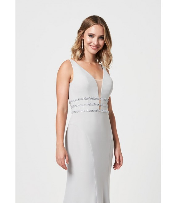 Ellie Detailed top with open back maxi dress in Silver, purple red