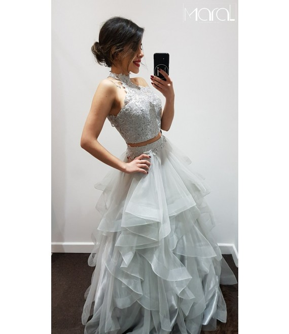 Avery Two Piece Beaded  Open back Prom dress with Ruffled layered detail Full-Length Skirt Silver
