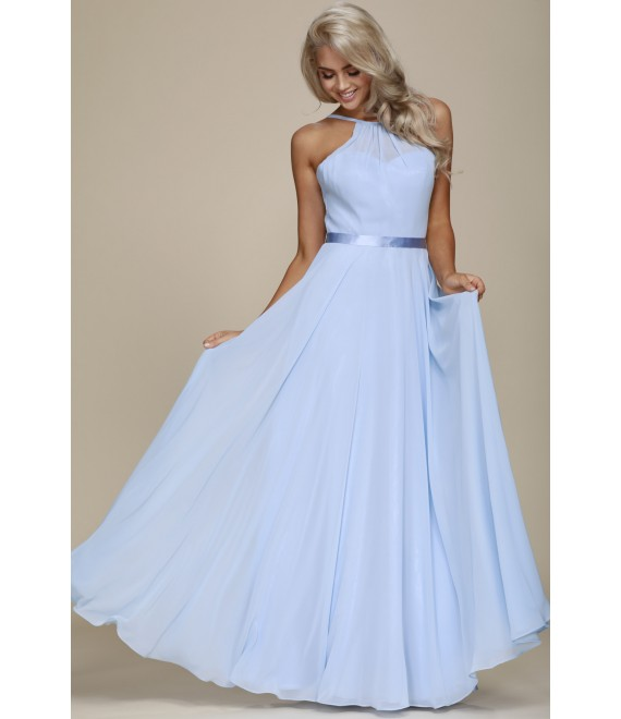 Amy Chiffon Maxi Dress with Lace-up back Baby Blue