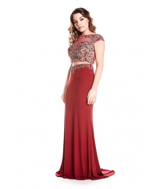 Bethany two piece dress in Claret