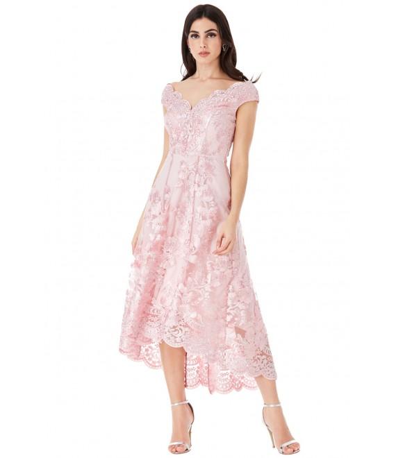 Embroidered Lace Midi Dress with Asymmetrical Hem - Blush