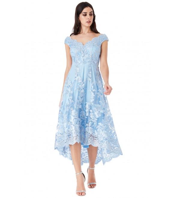 Embroidered Lace Midi Dress with Asymmetrical Hem - POWDERBLUE