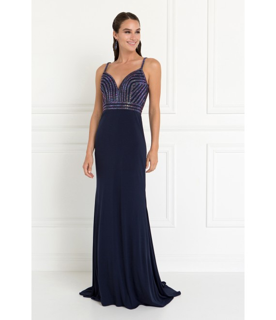 Skylar Jersey Wide V-Neck Mermaid Long Dress with Deep V-Back