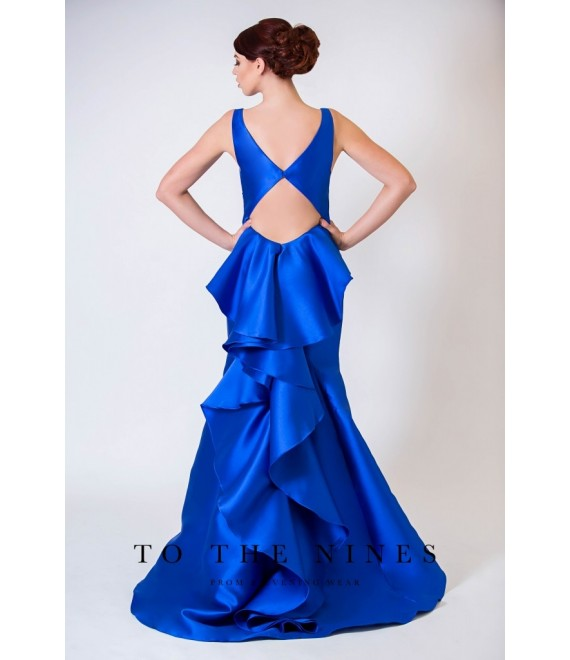 Aria Ruffle Mermaid Style Gown open back Royal