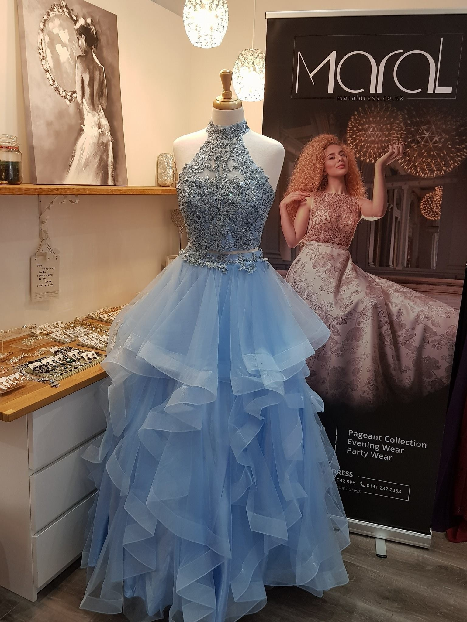 f1af2fa6fe8 Avery Two Piece Beaded Open back Prom dress with Ruffled layered detail Full -Length Skirt