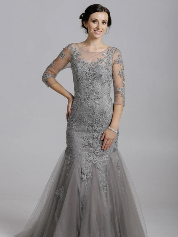 f0900f0d6919 Jessica- Mermaid Detailed Lace Tulle Maxi Long Sleeves Open Back In ...