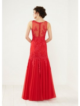 Natalie Mermaid style detailed lace plus size gown red, navy