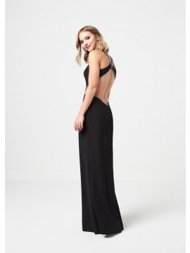 Leah Detailed top with open back maxi dress in black, royal