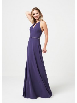 Hazel Detailed top with open back maxi dress in Peacock, purple