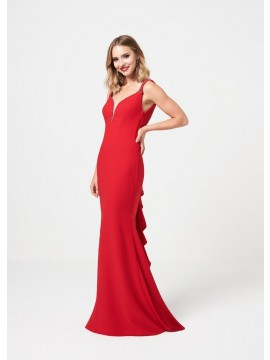 Hannah detailed back ruffle skirt red, royal
