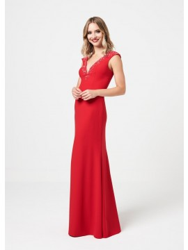 Luna Detailed top & back maxi dress in red