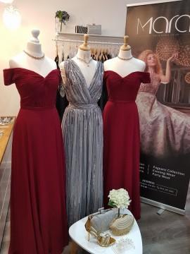Lili Sequined Chiffon Maxi Dress Wrap Style Silver