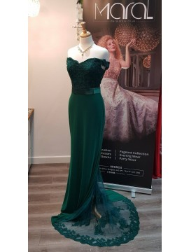 Anna- Off Shoulder Jersey Detailed Back Emerald Green
