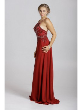 Maisa- Chiffon Maxi Dress Embellished Top In Burgundy