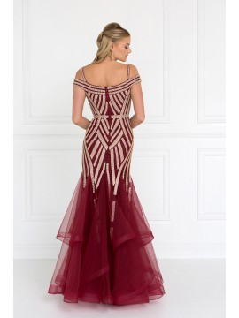 Alexa Mesh Off Shoulder Trumpet Long Dress with Rhinestones