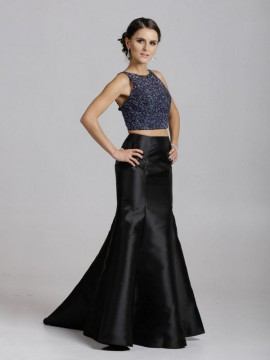 Aurora- Two Piece Dress Cropped Top Mikado Mermaid Style Skirt In Silver, Navy/Black