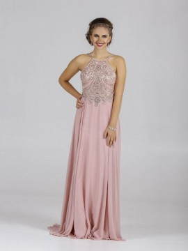 Ava Chiffon Maxi Dress Embellished Top In Grey, Blush Nude