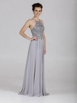 Ava Chiffon Maxi Dress Embellished Top In Grey, Blush Nude