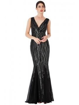 Mina Dress Black & Silver  Sequined Chiffon Mermaid Style