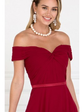Katy Chiffon Maxi Dress with Ruched Sweetheart Top Burgundy