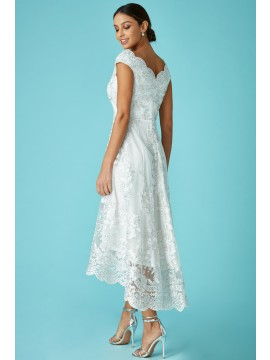 Embroidered Lace Midi Dress with Asymmetrical Hem - White