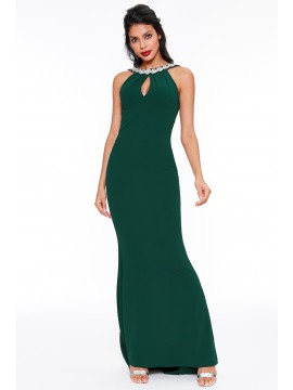 Emily Fishtail Maxi Dress With Open Back And Waterfall Frills Emerald