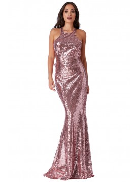 Sequins Fishtail Maxi Dress With Open Back And Waterfall Frills Rose