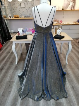 Grace Ball Gown Navy Silver