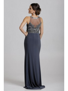 Hilary- Embellished Top Sheer Neckline And Back Jersey Maxi In Grey Silver