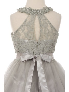 Lili Dazzling halter neck laced with hand beaded rhinestone tulle dress Grey