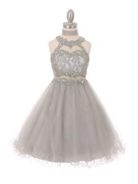 Lili Dazzling halter neck laced with hand beaded rhinestone tulle dress Aqua