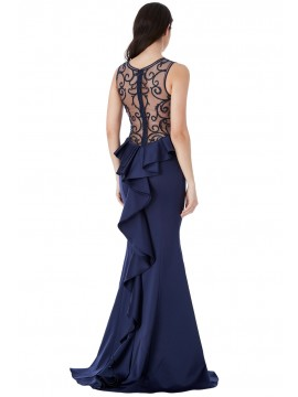 Lisa MAXI DRESS WITH EMBELLISHED MESH BACK AND FRILLS