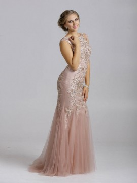 Millie- Mermaid Prom Dress Fully Embellished Bodice In Green, Nude