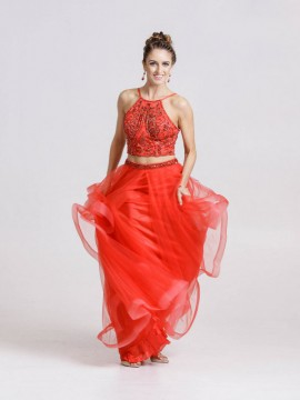Mina- Two Piece Embellished Halterneck Top Tulle Skirt Maxi Dress In Red