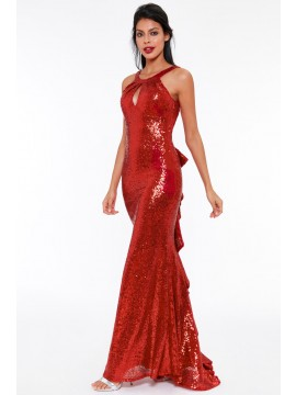 Sequins Fishtail Maxi Dress With Open Back And Waterfall Frills Red