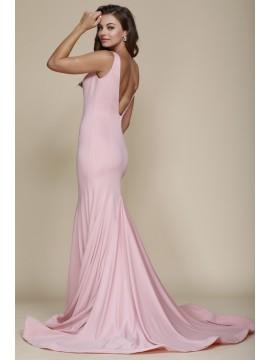 Faye Train Bottom Open V-Back Mermaid Style Gown in Rose