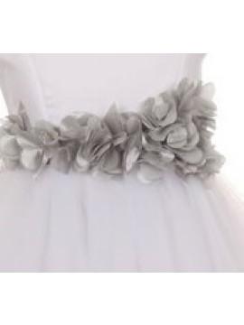 Blossom Elegant Simple Satin Tulle Dress with Petals Ribbon Silver Sash