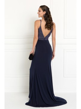 Skylar Jersey Wide V-Neck Mermaid Long Dress with Deep V-Back