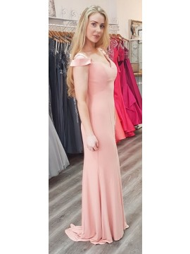 Tina Jersey Off Shoulder Dress in Peach