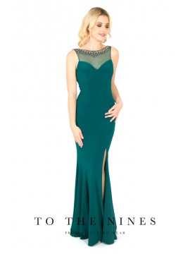 Nora fishtail Style Gown detailed back Emerald, Wine
