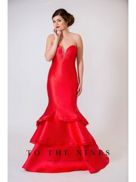 Riley Mermaid Style Gown open back Red, Navy