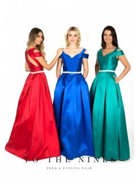 Ella Ball Gown V Neck Detailed Belt Red, Blush