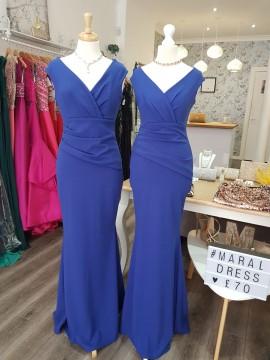 Ava Crepe Maxi Bardot neckline Pleating Detail Maxi In Royal Blue