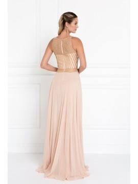 Zara Chiffon Illusion Sweetheart A-Line Long Dress with Jewels