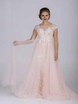 Zara- Fitted Embroidered Column With Embroidered Overskirt- Navy, Light Pink