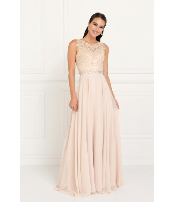 Anny Chiffon Maxi Dress with Embellished Lace top Champagne