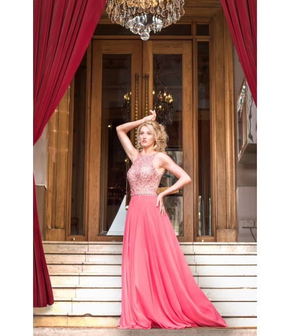 Style 268 Chiffon Dress With Fully Beaded Open Back Top In Coral Pink