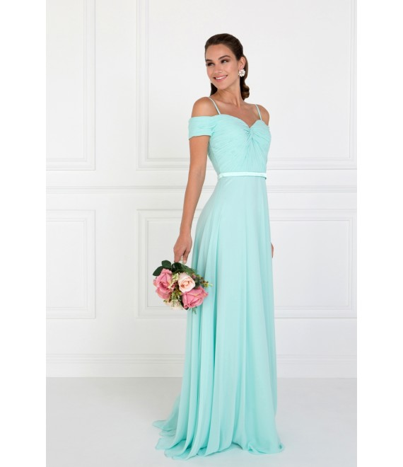 Katy Chiffon Maxi Dress with Ruched Sweetheart Top Mint